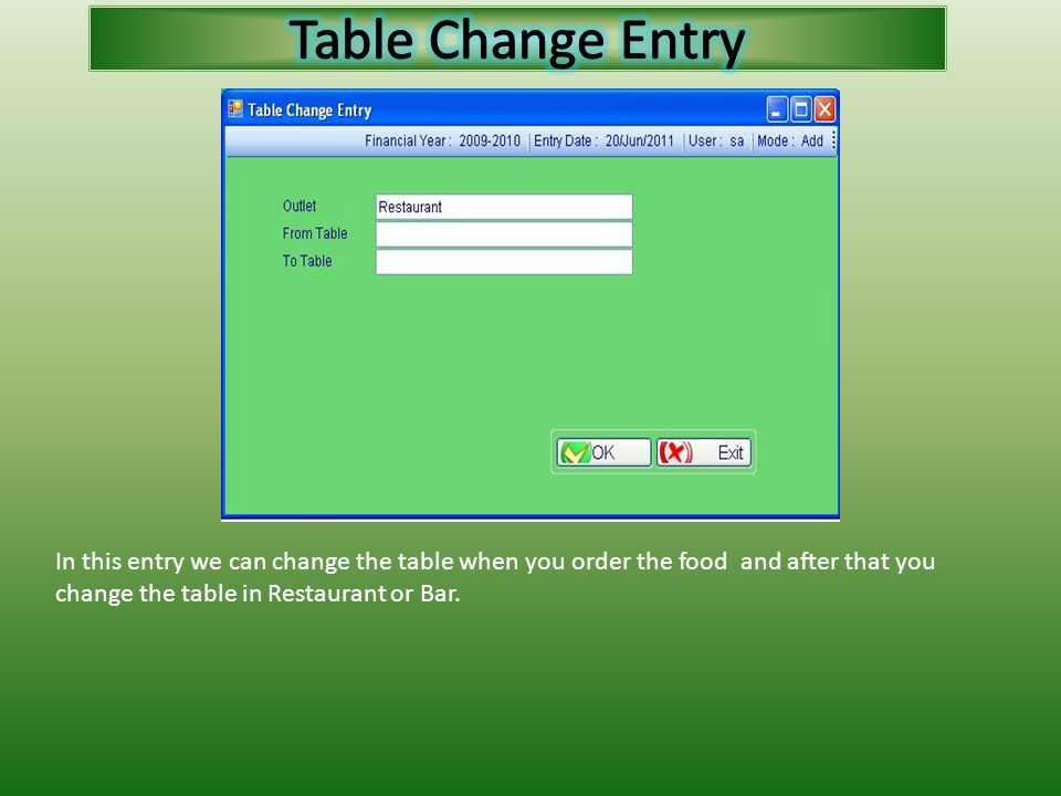 In this entry we can change the table when you order the food and after that you change the table in Restaurant or Bar.