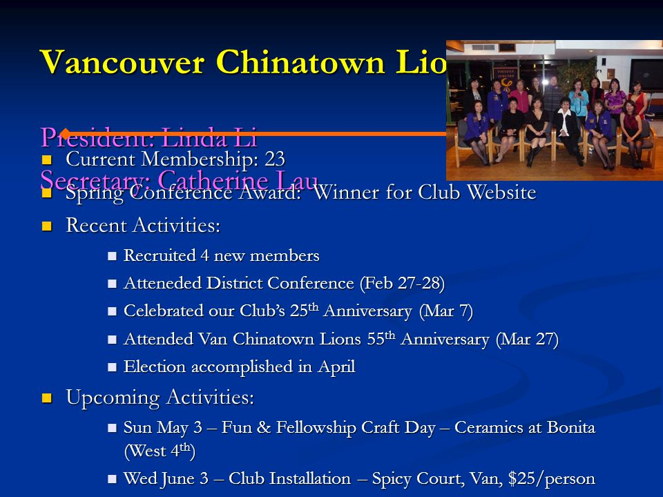 Vancouver Chinatown Lioness Club President: Linda Li Secretary: Catherine Lau Current Membership: 23 Current Membership: 23 Spring Conference Award: W