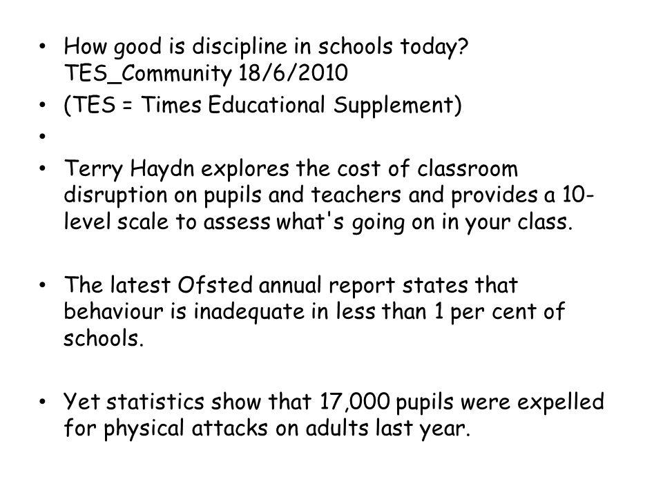 How good is discipline in schools today.