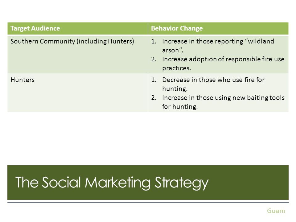 The Social Marketing Strategy As a result of the Threat Ranking… Target AudienceBehavior Change Southern Community (including Hunters)1.Increase in those reporting wildland arson.