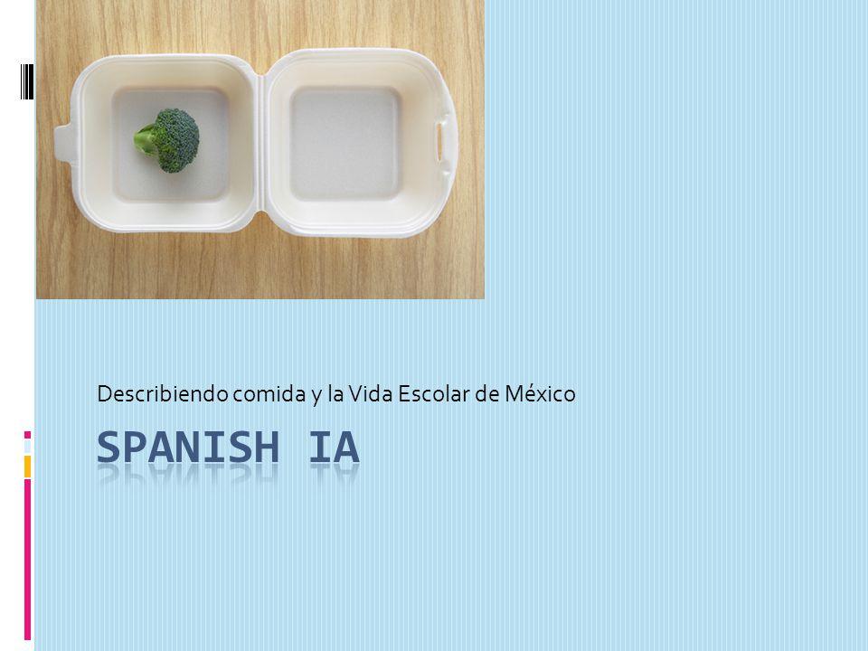Describiendo comida y la Vida Escolar de México