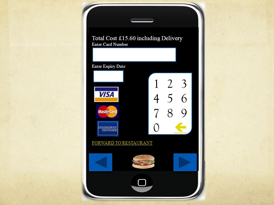 Total Cost £15.60 including Delivery Enter Card Number Enter Expiry Date FORWARD TO RESTAURANT 1 2 3 4 5 6 7 8 9 0