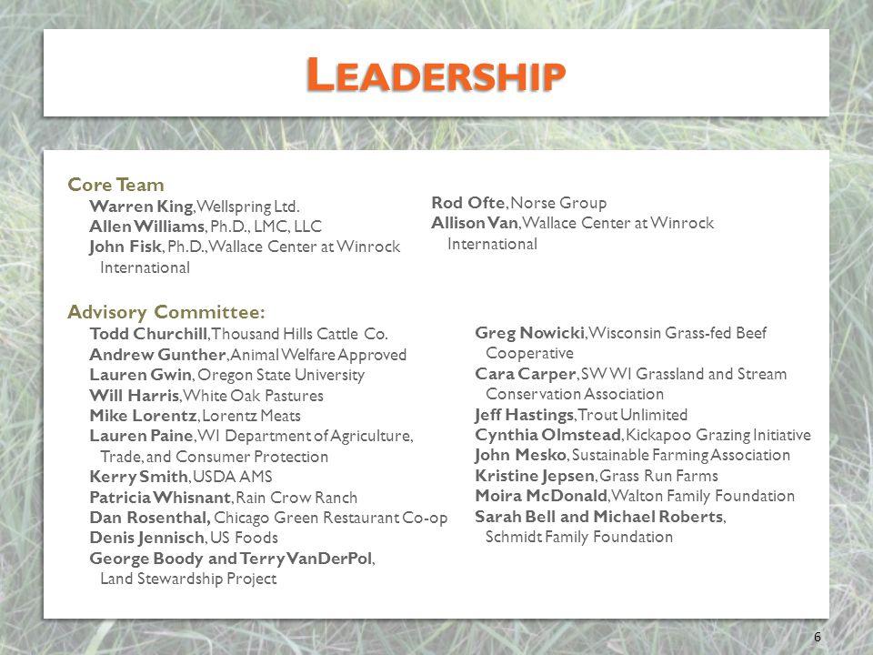 L EADERSHIP Core Team Warren King, Wellspring Ltd. Allen Williams, Ph.D., LMC, LLC John Fisk, Ph.D., Wallace Center at Winrock International Advisory