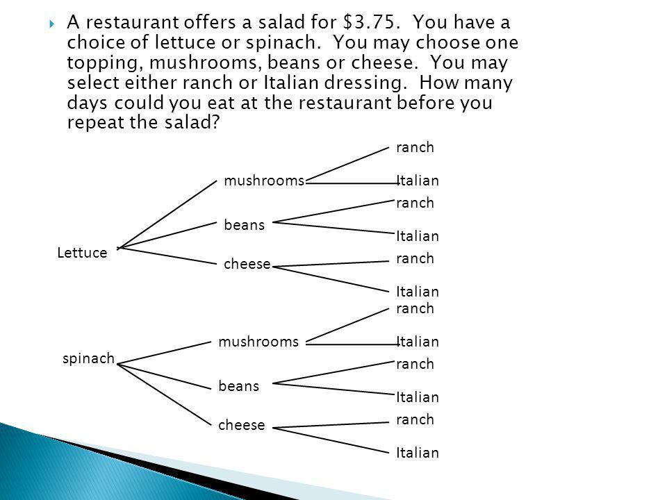 A restaurant offers a salad for $3.75. You have a choice of lettuce or spinach.