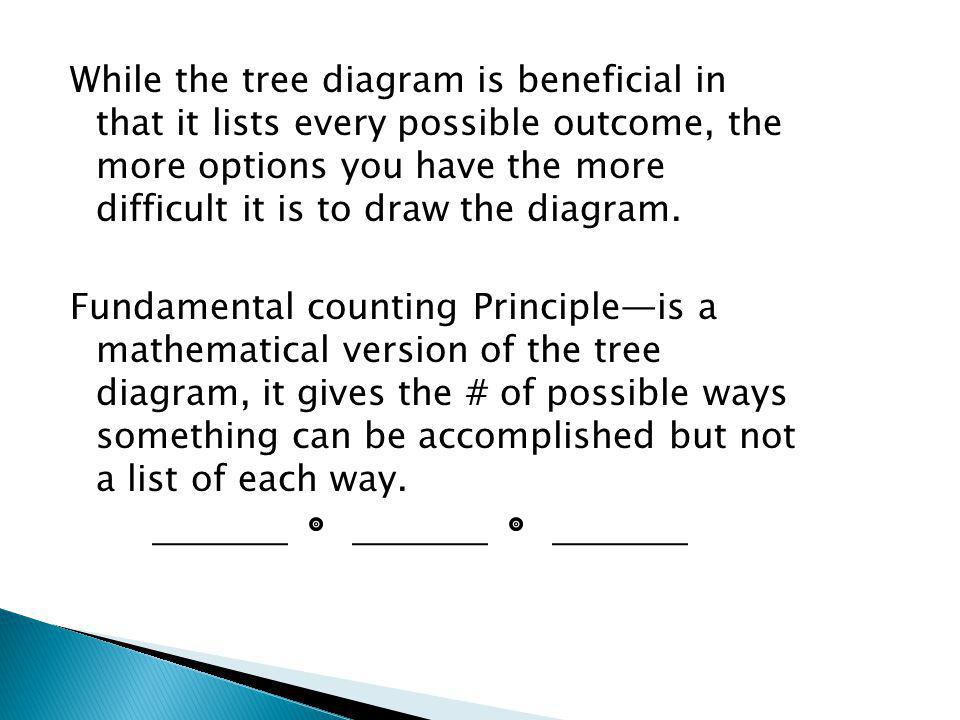 While the tree diagram is beneficial in that it lists every possible outcome, the more options you have the more difficult it is to draw the diagram.
