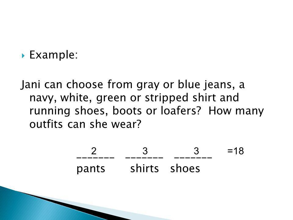 Example: Jani can choose from gray or blue jeans, a navy, white, green or stripped shirt and running shoes, boots or loafers.
