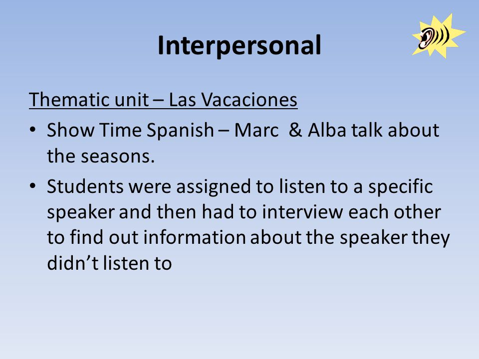 Interpersonal Thematic unit – Las Vacaciones Show Time Spanish – Marc & Alba talk about the seasons.