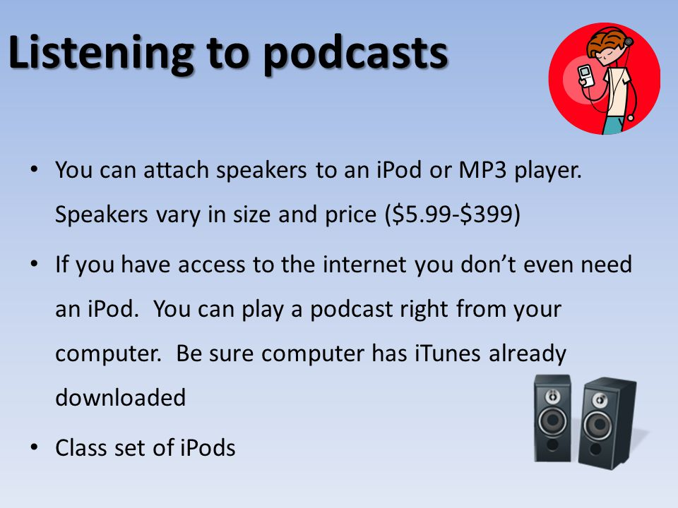 Listening to podcasts You can attach speakers to an iPod or MP3 player.