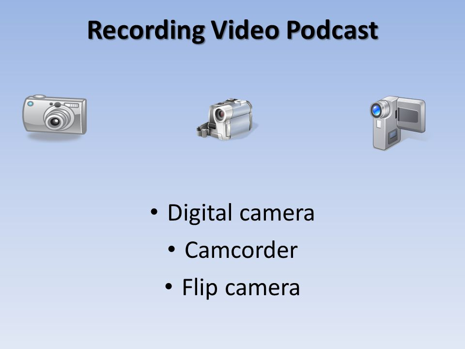 Recording Video Podcast Digital camera Camcorder Flip camera