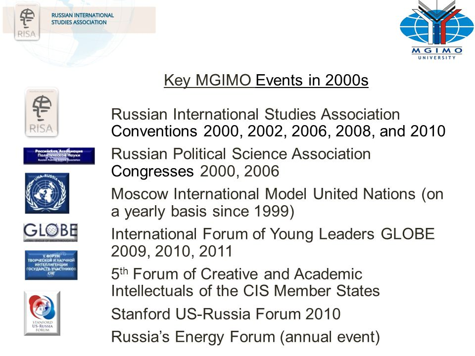 Key MGIMO Events in 2000s Russian International Studies Association Conventions 2000, 2002, 2006, 2008, and 2010 Russian Political Science Association