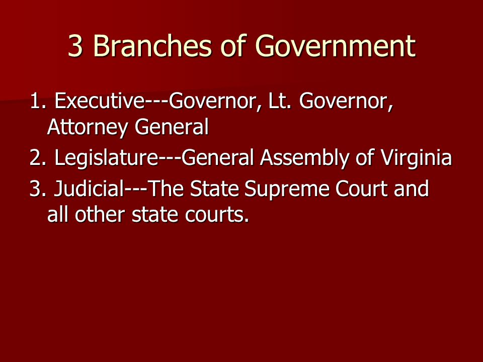 Executive Branch The Governor is Bob McDonnell (R) The Governor is Bob McDonnell (R) The Governor of Virginia may not succeed him or herself.
