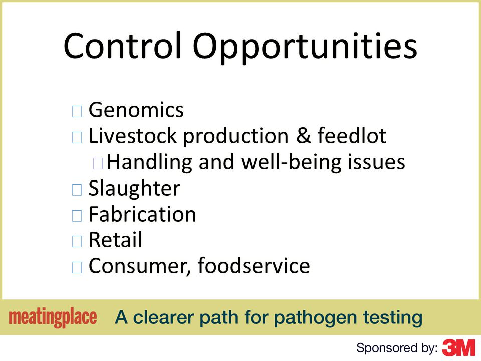 Control Opportunities Genomics Livestock production & feedlot Handling and well-being issues Slaughter Fabrication Retail Consumer, foodservice Genomics Livestock production & feedlot Handling and well-being issues Slaughter Fabrication Retail Consumer, foodservice