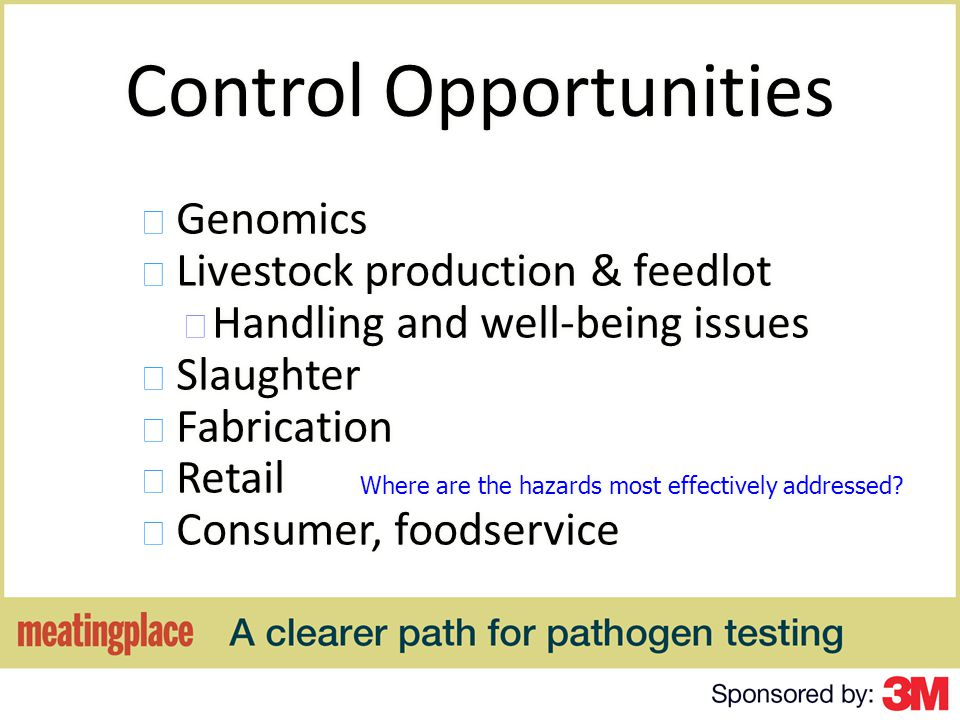Before you Decide that Testing is necessary and on a Methodology Remember: Testing is a PART of a Food Safety System