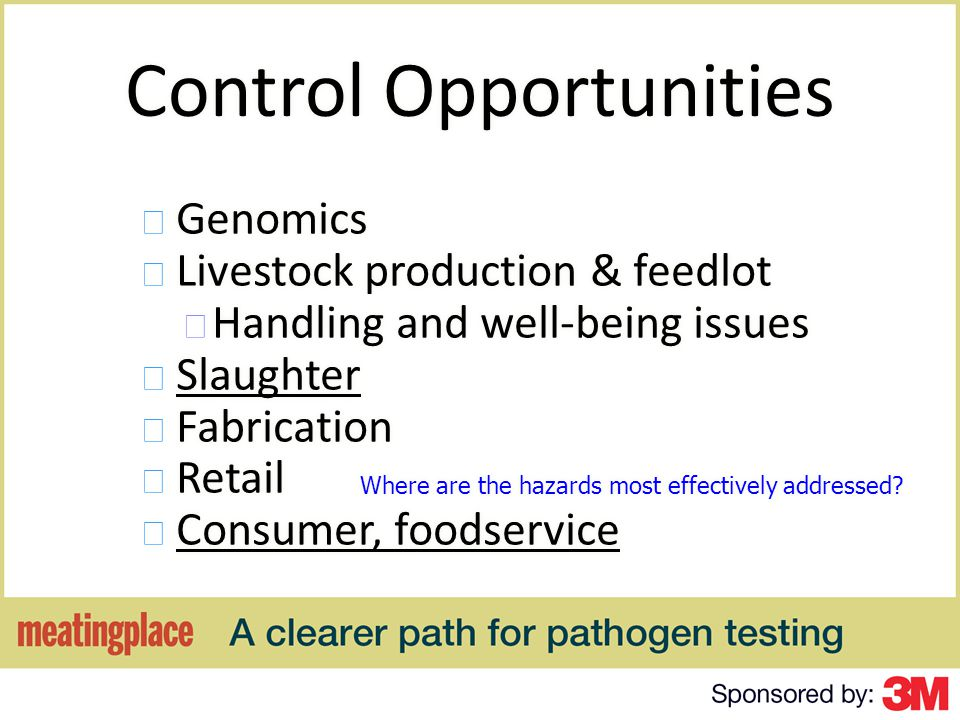 Food Safety Verification for O157 Verification of HACCP and Food Safety Program for control of Enteric Pathogens – Must define the sublot – Must define the sample size and frequency of sampling – Must define the actions to be taken in the event of a positive result