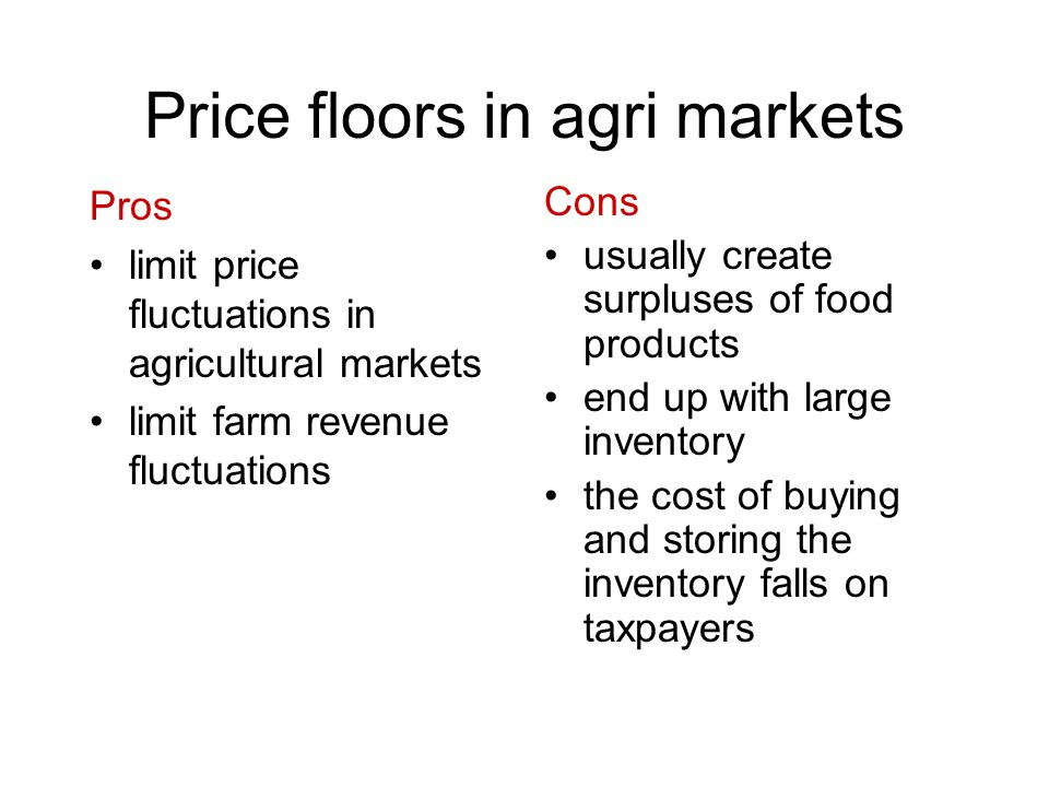 Price floors in agri markets Pros limit price fluctuations in agricultural markets limit farm revenue fluctuations Cons usually create surpluses of fo