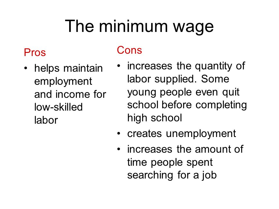 The minimum wage Pros helps maintain employment and income for low-skilled labor Cons increases the quantity of labor supplied. Some young people even