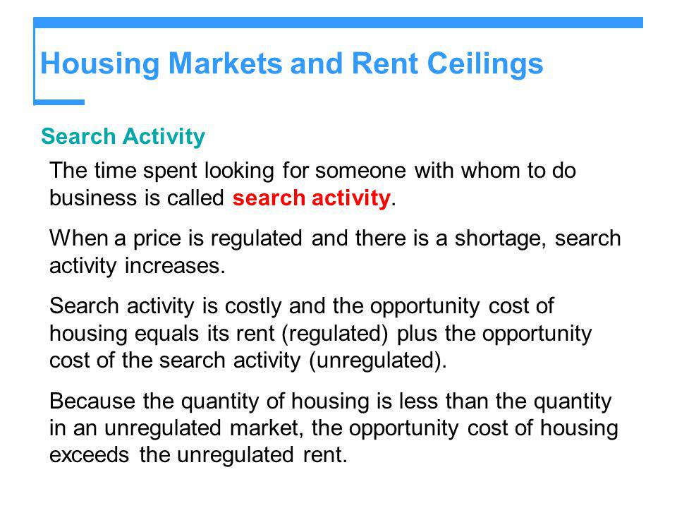 Housing Markets and Rent Ceilings Search Activity The time spent looking for someone with whom to do business is called search activity. When a price