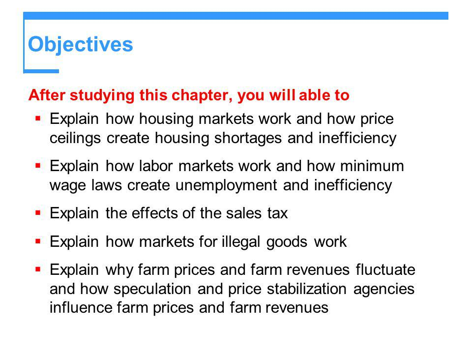Objectives After studying this chapter, you will able to Explain how housing markets work and how price ceilings create housing shortages and ineffici