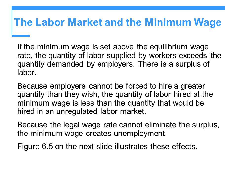 The Labor Market and the Minimum Wage If the minimum wage is set above the equilibrium wage rate, the quantity of labor supplied by workers exceeds th
