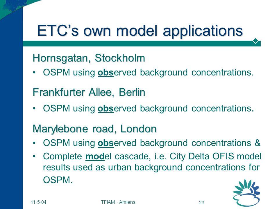 TFIAM - Amiens 23 11-5-04 ETCs own model applications Hornsgatan, Stockholm OSPM using observed background concentrations. Frankfurter Allee, Berlin O