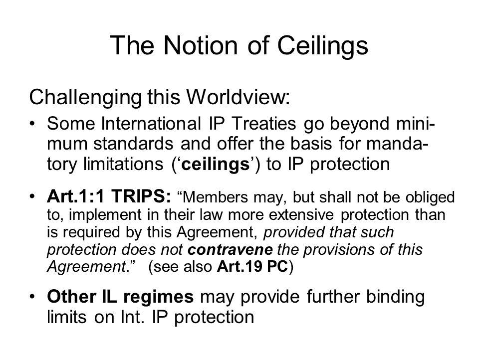 The Notion of Ceilings Ceilings in Int.
