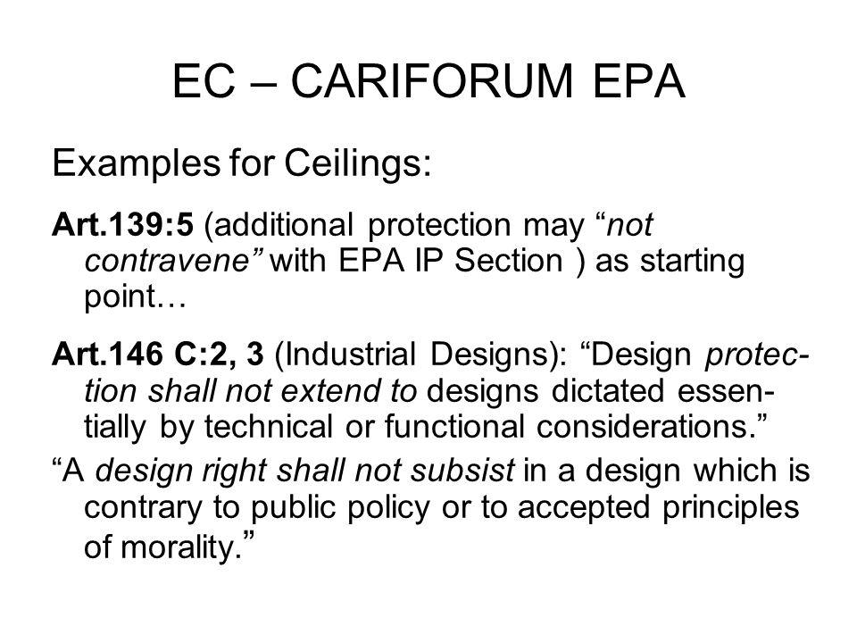 EC – CARIFORUM EPA Examples for Ceilings: Art.