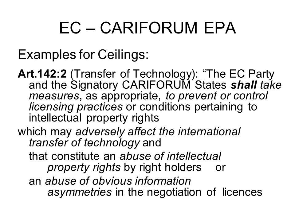 EC – CARIFORUM EPA Further example for Ceilings.