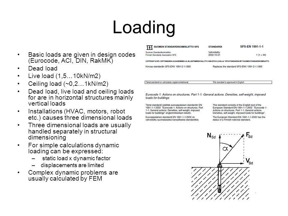 Loading Basic loads are given in design codes (Eurocode, ACI, DIN, RakMK) Dead load Live load (1,5…10kN/m2) Ceiling load (~0,2…1kN/m2) Dead load, live load and ceiling loads for are in horizontal structures mainly vertical loads Installations (HVAC, motors, robot etc.) causes three dimensional loads Three dimensional loads are usually handled separately in structural dimensioning For simple calculations dynamic loading can be expressed: – static load x dynamic factor –displacements are limited Complex dynamic problems are usually calculated by FEM