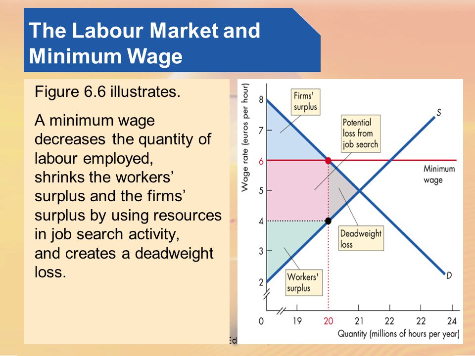 © Pearson Education, 2005 The Labour Market and Minimum Wage Figure 6.6 illustrates.