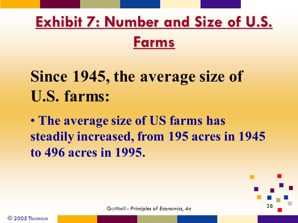 © 2005 Thomson 38 Gottheil - Principles of Economics, 4e Exhibit 7: Number and Size of U.S.