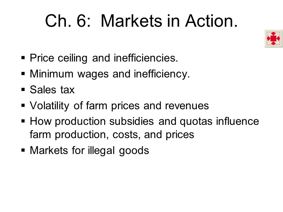 Ch. 6: Markets in Action. Price ceiling and inefficiencies.