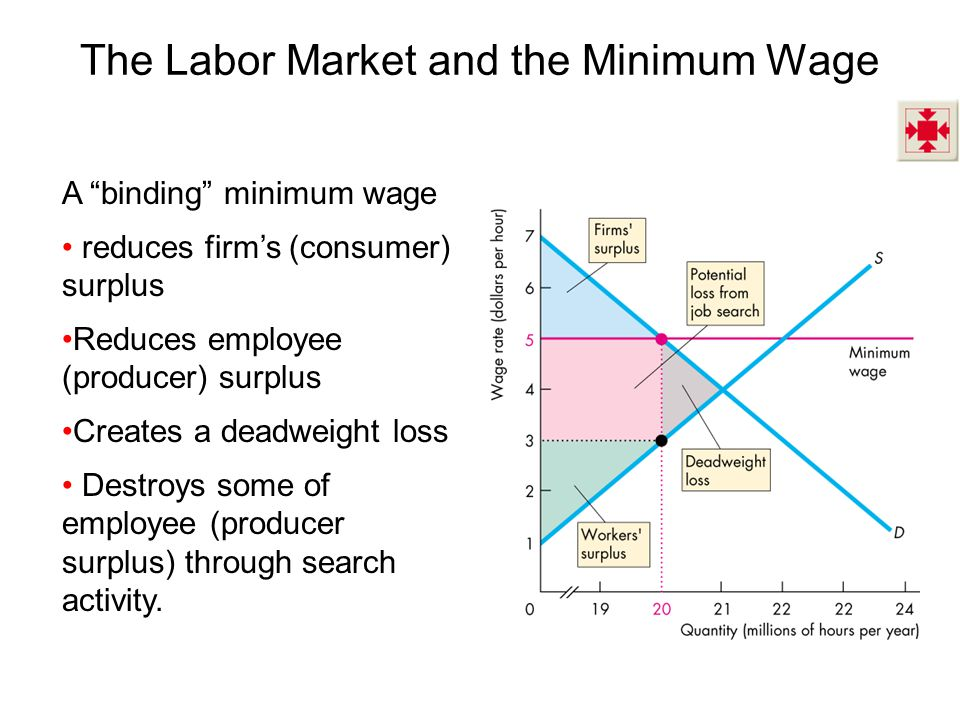 A binding minimum wage reduces firms (consumer) surplus Reduces employee (producer) surplus Creates a deadweight loss Destroys some of employee (producer surplus) through search activity.