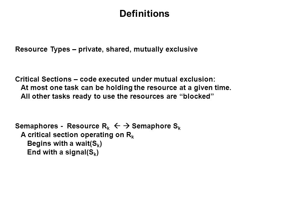 Stack Resource Policy Example Protocol: A job is not allowed to preempt until: its priority is the highest among those jobs ready to run, its preemption level is higher than the system ceiling t 0 : J 3 begins executing and the system ceiling = 0 because all resources are completely available.