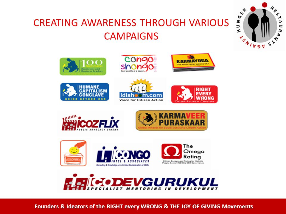 Founders & Ideators of the RIGHT every WRONG & THE JOY OF GIVING Movements CREATING AWARENESS THROUGH VARIOUS CAMPAIGNS