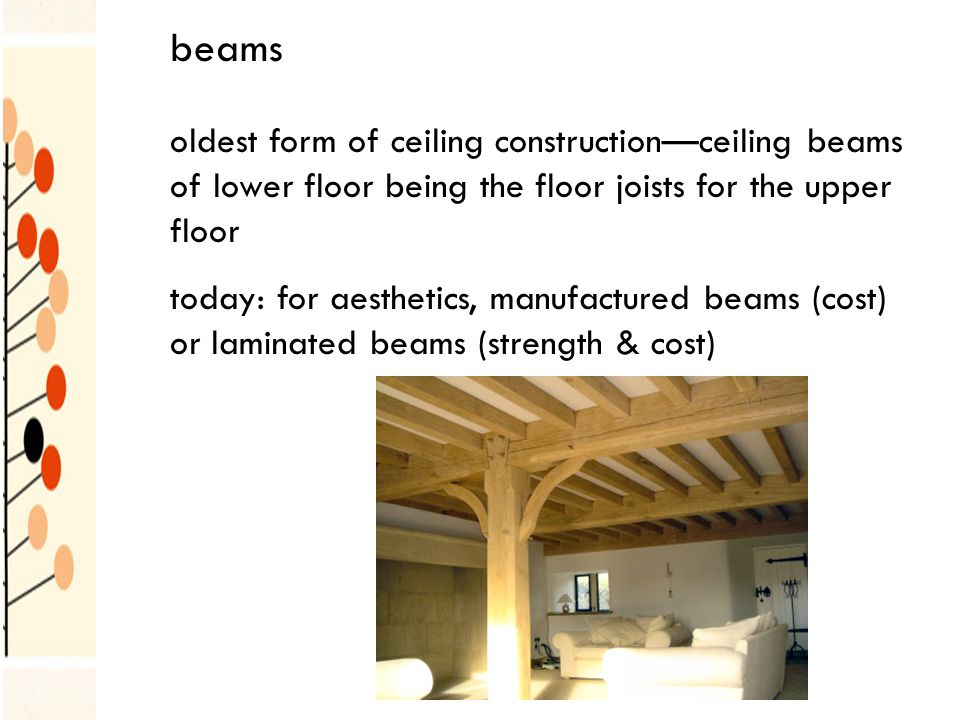 beams oldest form of ceiling constructionceiling beams of lower floor being the floor joists for the upper floor today: for aesthetics, manufactured beams (cost) or laminated beams (strength & cost)