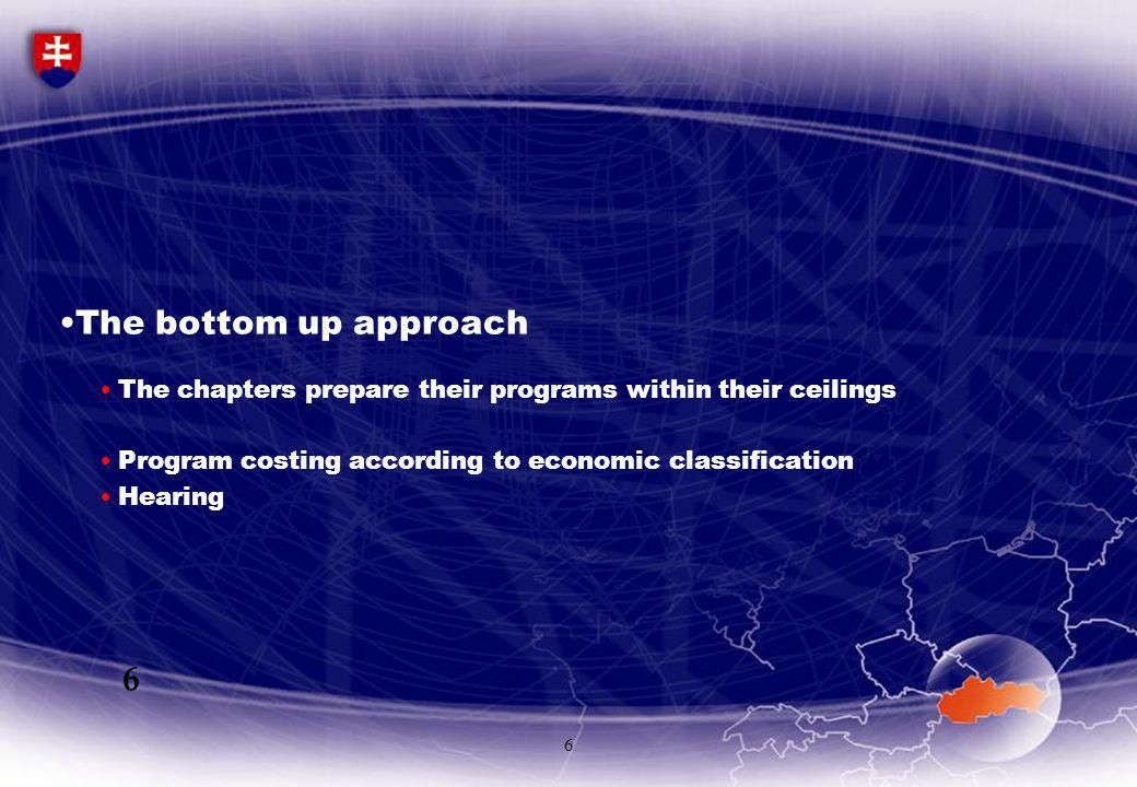 6 The bottom up approach The chapters prepare their programs within their ceilings Program costing according to economic classification Hearing 6