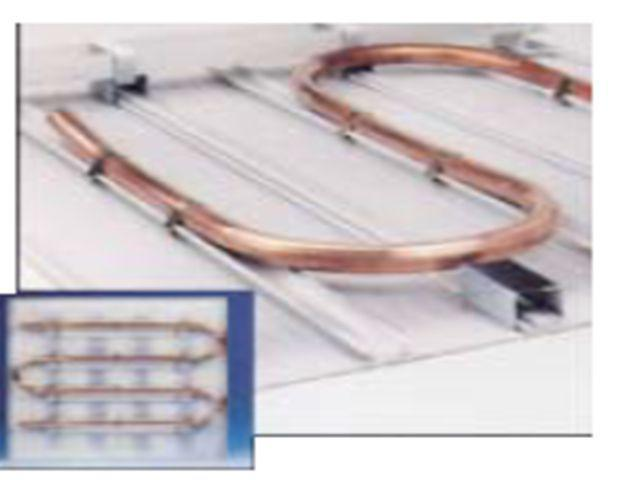 Passive Chilled Beams Operation Principle Perforate d tile Water coil Suspension rod Soffit Fabric skirt