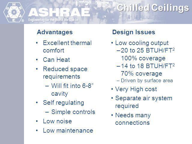 HVAC First Costs Savings Compared to VAV Smaller AHUs Smaller ductwork Controls Simple two position zone valves Electrical infrastructure costs Increased pump HP more than offset by reduced fan HP