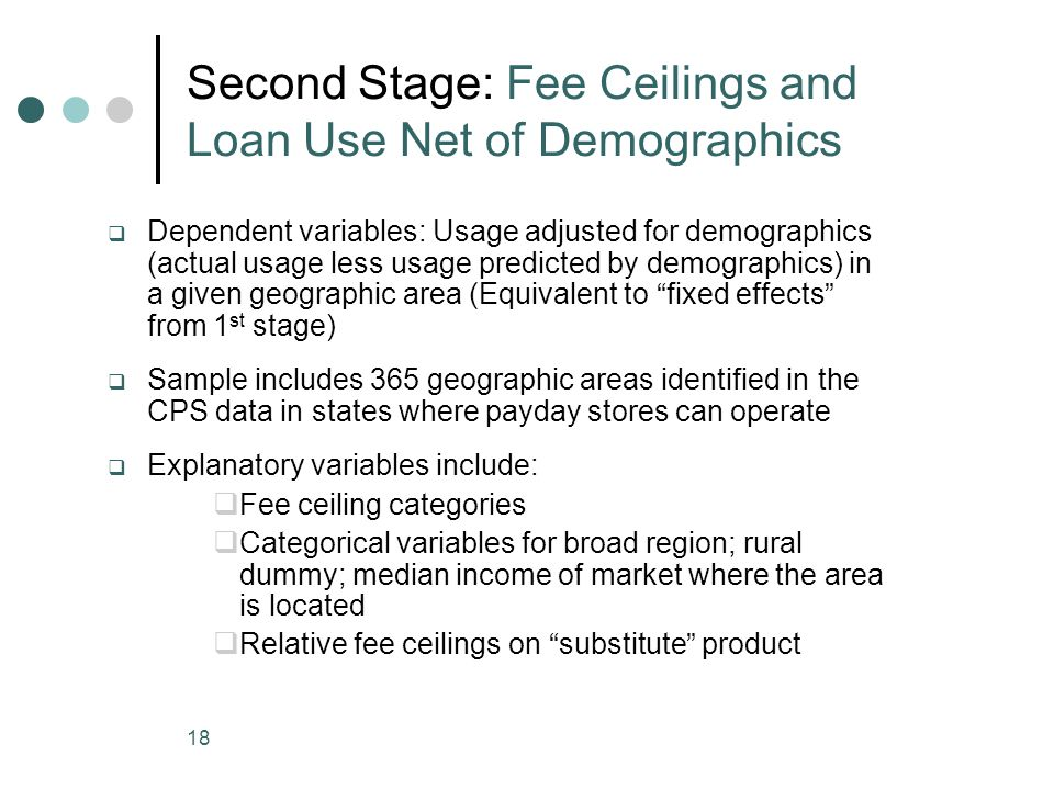 18 Second Stage: Fee Ceilings and Loan Use Net of Demographics Dependent variables: Usage adjusted for demographics (actual usage less usage predicted