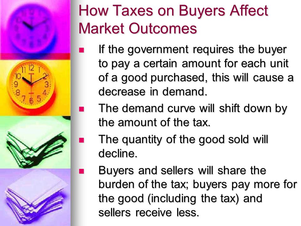 How Taxes on Buyers Affect Market Outcomes If the government requires the buyer to pay a certain amount for each unit of a good purchased, this will c