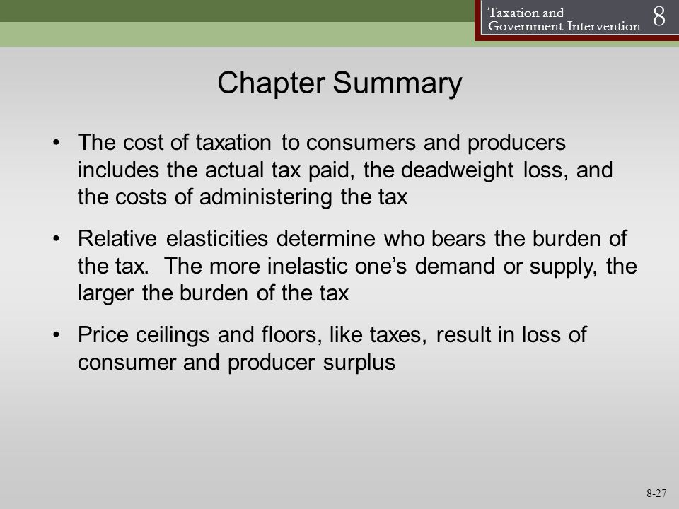 Taxation and Government Intervention 8 Chapter Summary The cost of taxation to consumers and producers includes the actual tax paid, the deadweight lo
