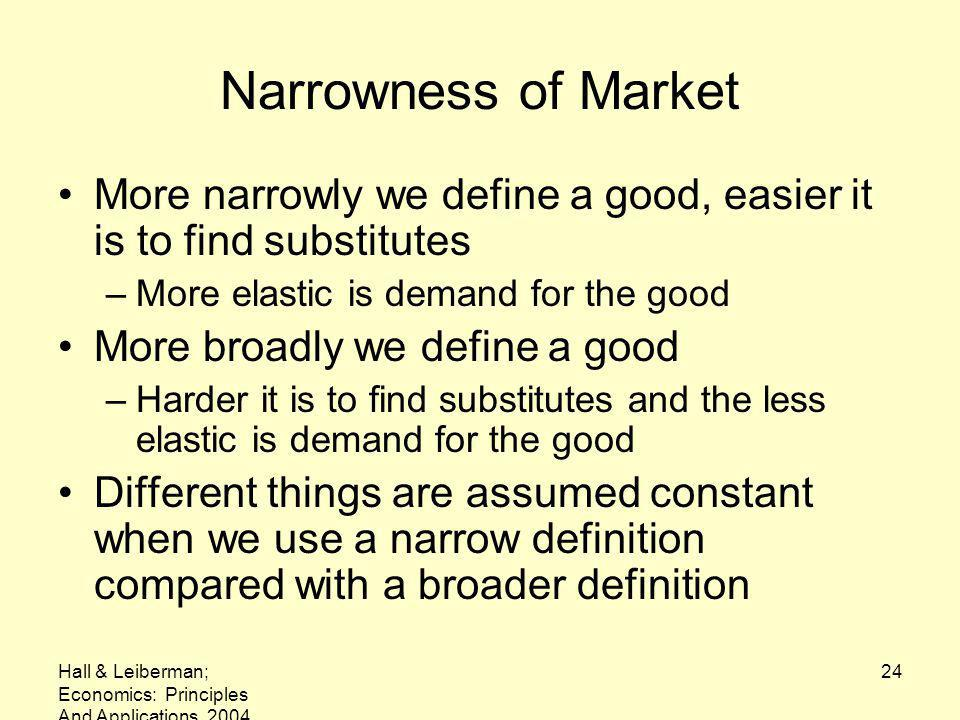 Hall & Leiberman; Economics: Principles And Applications, 2004 24 Narrowness of Market More narrowly we define a good, easier it is to find substitutes –More elastic is demand for the good More broadly we define a good –Harder it is to find substitutes and the less elastic is demand for the good Different things are assumed constant when we use a narrow definition compared with a broader definition