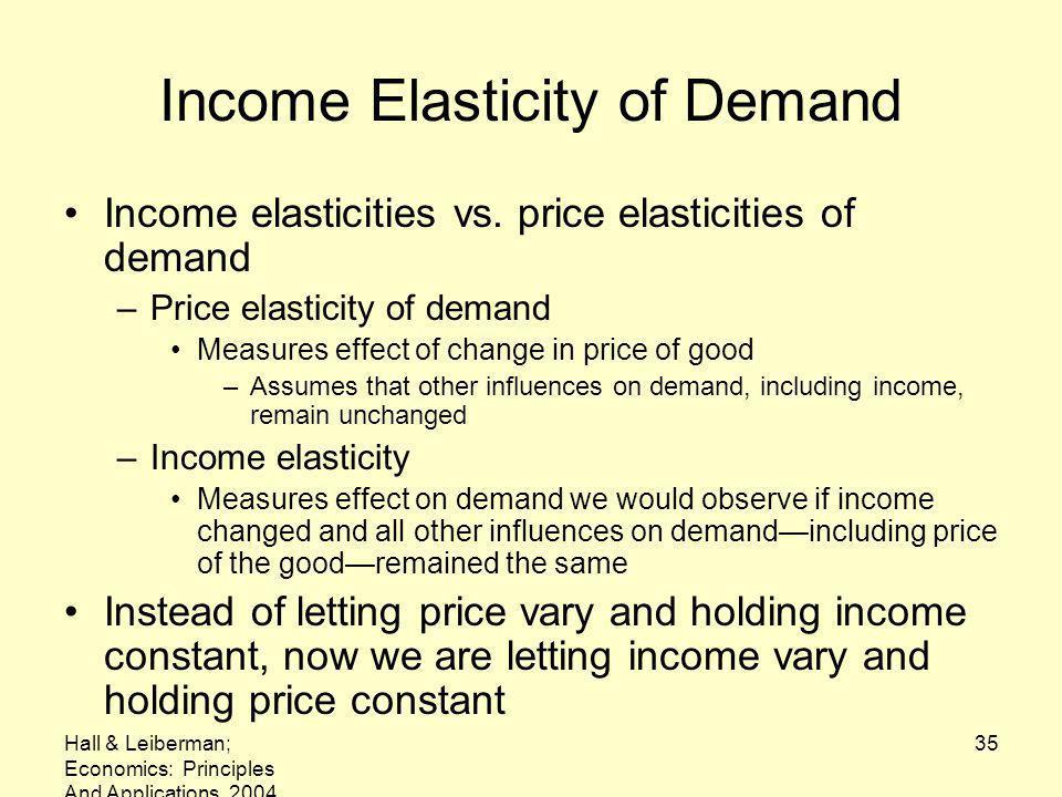Hall & Leiberman; Economics: Principles And Applications, 2004 35 Income Elasticity of Demand Income elasticities vs. price elasticities of demand –Pr