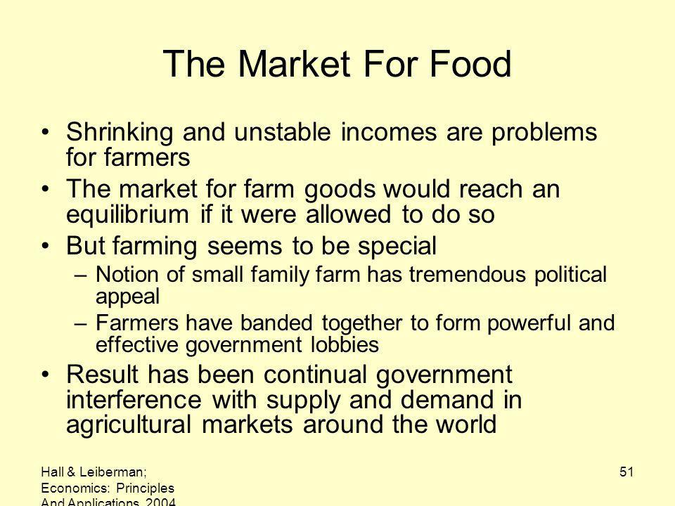 Hall & Leiberman; Economics: Principles And Applications, 2004 51 The Market For Food Shrinking and unstable incomes are problems for farmers The market for farm goods would reach an equilibrium if it were allowed to do so But farming seems to be special –Notion of small family farm has tremendous political appeal –Farmers have banded together to form powerful and effective government lobbies Result has been continual government interference with supply and demand in agricultural markets around the world