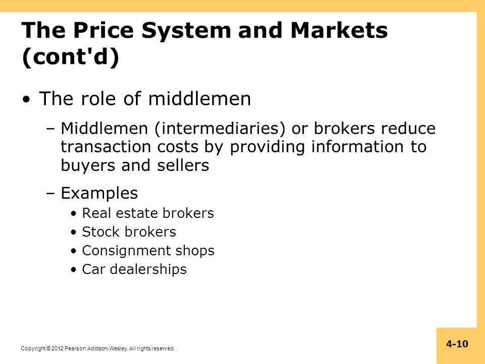 Copyright © 2012 Pearson Addison-Wesley. All rights reserved. 4-10 The Price System and Markets (cont'd) The role of middlemen –Middlemen (intermediar