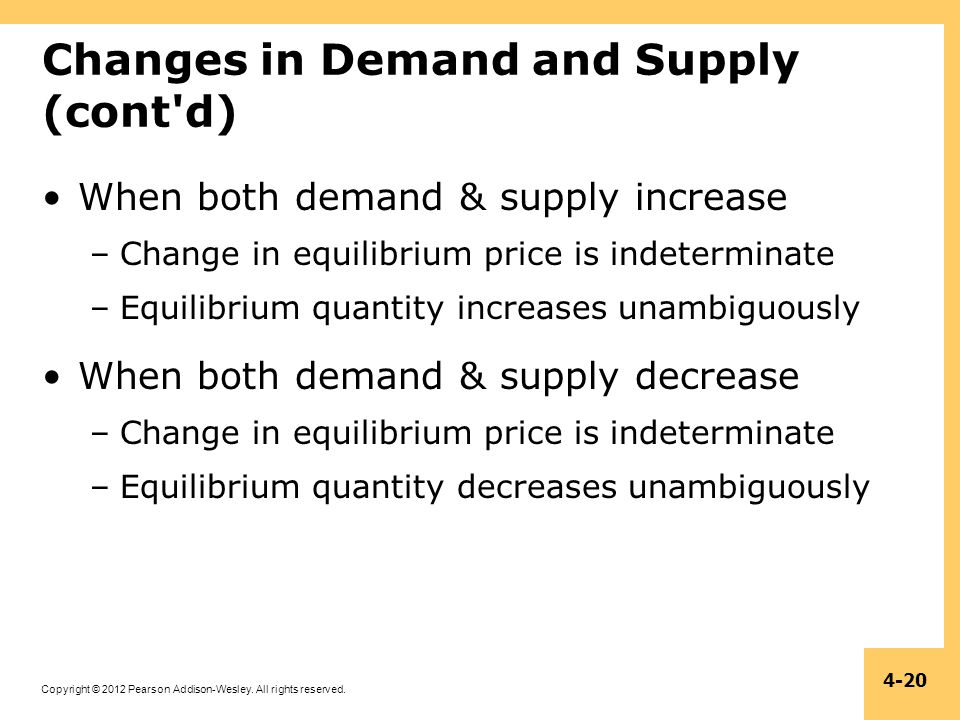 Copyright © 2012 Pearson Addison-Wesley. All rights reserved. 4-20 Changes in Demand and Supply (cont'd) When both demand & supply increase –Change in
