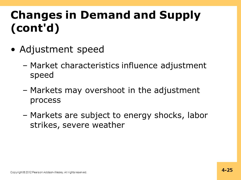 Copyright © 2012 Pearson Addison-Wesley. All rights reserved. 4-25 Changes in Demand and Supply (cont'd) Adjustment speed –Market characteristics infl