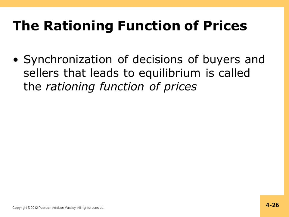 Copyright © 2012 Pearson Addison-Wesley. All rights reserved. 4-26 The Rationing Function of Prices Synchronization of decisions of buyers and sellers
