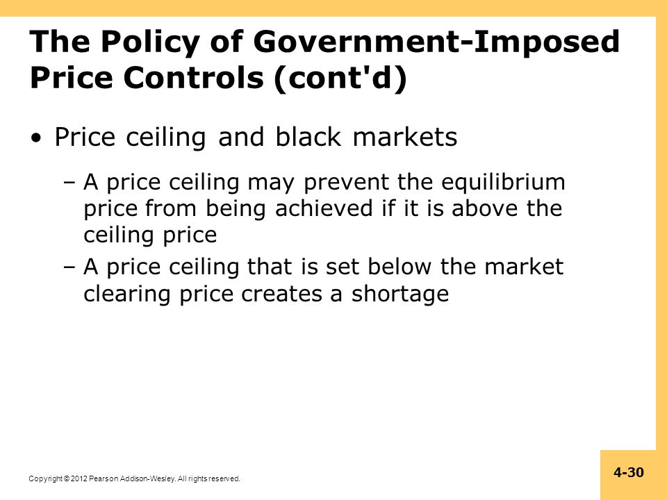 Copyright © 2012 Pearson Addison-Wesley. All rights reserved. 4-30 The Policy of Government-Imposed Price Controls (cont'd) Price ceiling and black ma