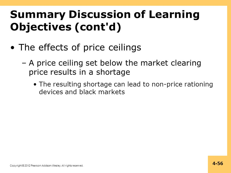 Copyright © 2012 Pearson Addison-Wesley. All rights reserved. 4-56 Summary Discussion of Learning Objectives (cont'd) The effects of price ceilings –A